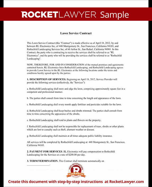 Lawn Service Contract Template Fresh Lawn Service Contract Template with Sample