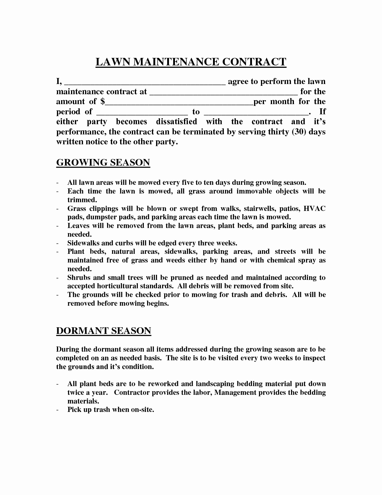 Lawn Service Contract Template Lovely Lawn Maintenance Contract Agreement Free Printable Documents