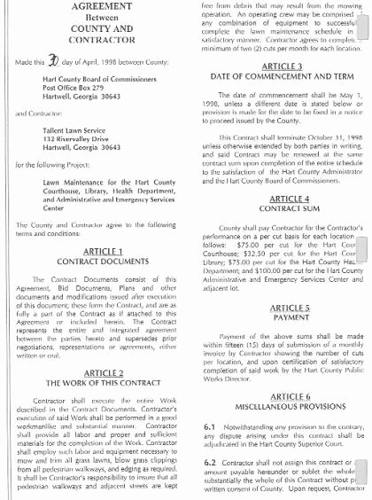 Lawn Service Contract Template New Free Printable Lawn Care Contract form Generic