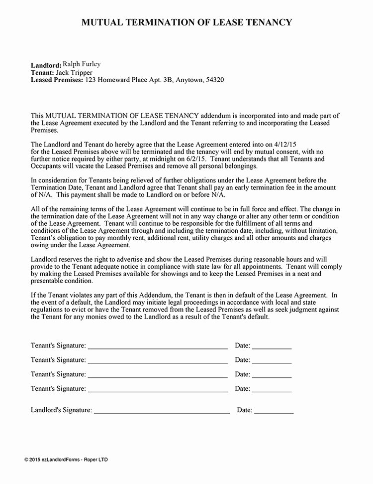 Lease Termination Agreement Template Awesome 50 Perfect Mutual Lease Termination Agreement Florida Ja