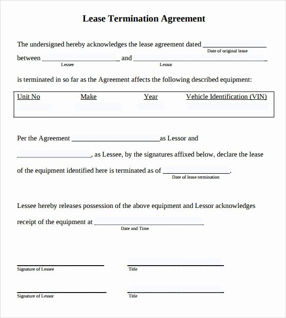 Lease Termination Agreement Template Awesome Sample Lease Termination Agreement 13 Free Documents