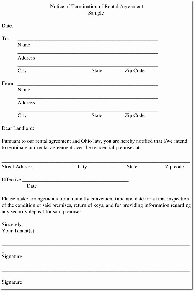 Lease Termination Agreement Template Awesome Sample Rental Termination Letters Notice & form formats
