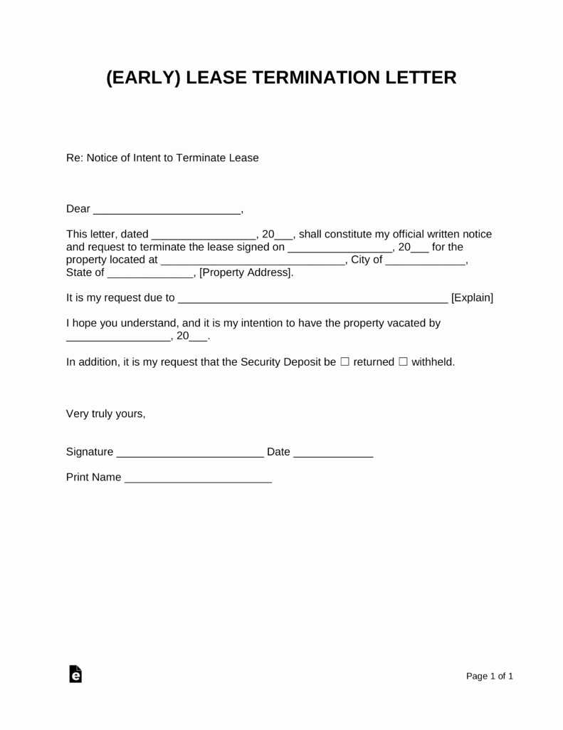 Lease Termination Agreement Template Best Of Early Lease Termination Letter Landlord Tenant