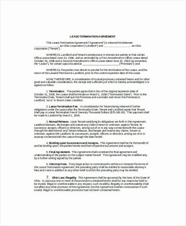 Lease Termination Agreement Template Elegant Lease Termination Template 5 Free Word Pdf Documents