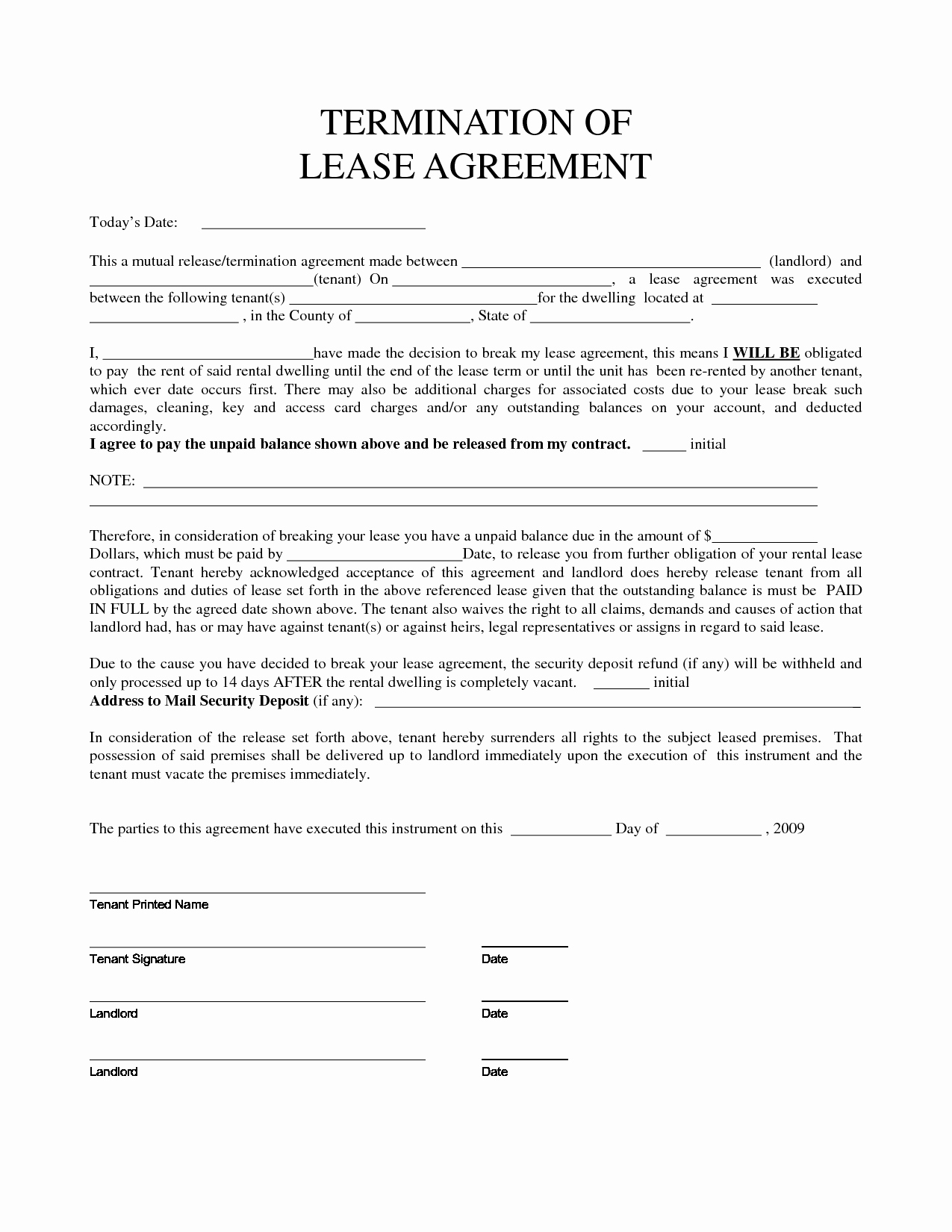 Lease Termination Agreement Template Elegant Personal Property Rental Agreement forms