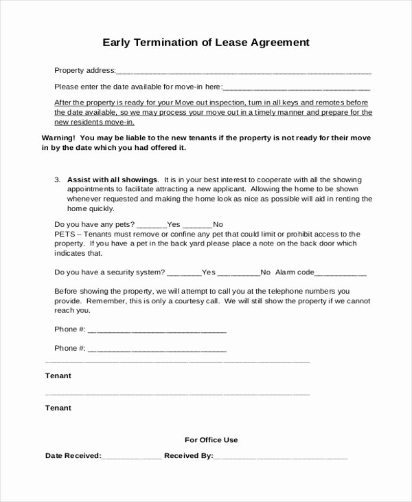 Lease Termination Agreement Template Free Awesome Sample Lease Agreement form 9 Free Documents In Doc Pdf
