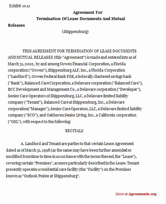 Lease Termination Agreement Template Free Beautiful Agreement for Termination Lease Sample Agreement for