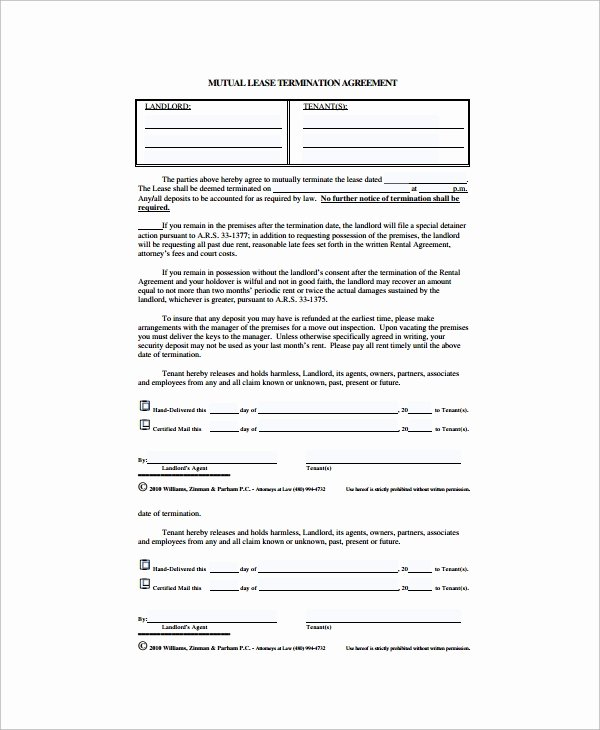 Lease Termination Agreement Template Free Best Of Sample Lease Termination Agreement 13 Free Documents