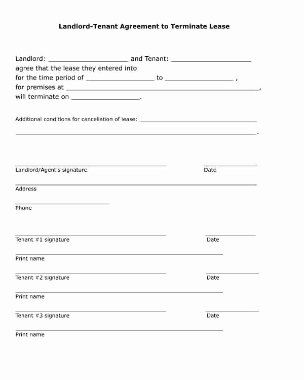Lease Termination Agreement Template Free Inspirational Free Printable Black and White Pdf form Landlord