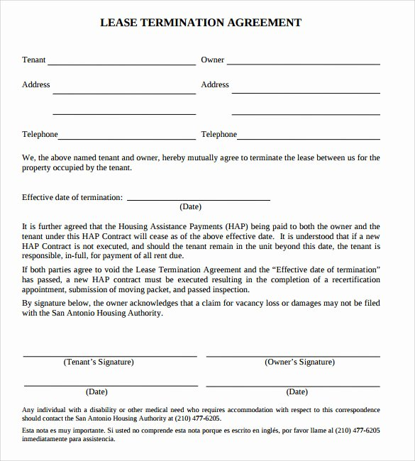 Lease Termination Agreement Template Free Lovely Lease Termination Agreement 12 Free Word Pdf format