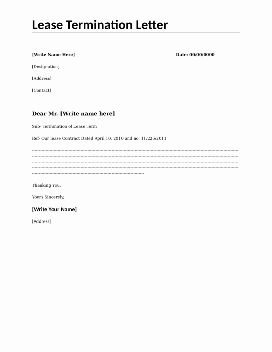 Lease Termination Agreement Template Free Luxury 2019 Lease Termination form Fillable Printable Pdf