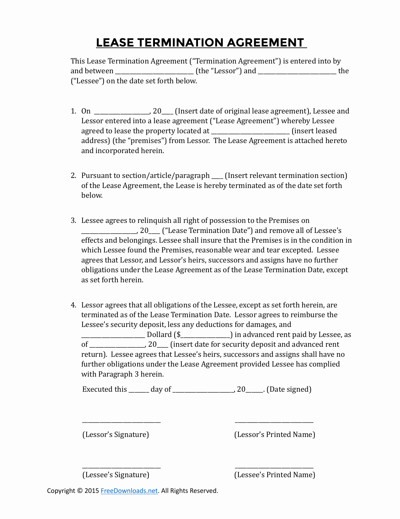 Lease Termination Agreement Template Free Luxury Download Early Residential Lease Termination Agreement