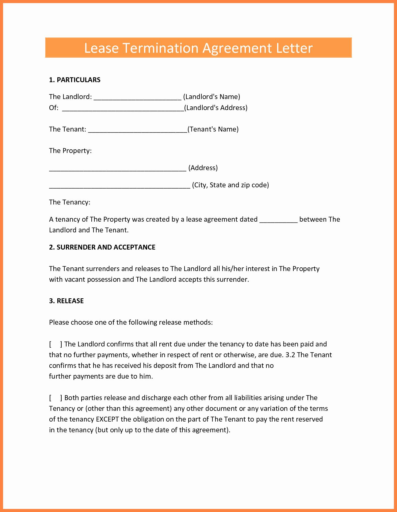 Lease Termination Agreement Template Fresh 9 Termination Of Lease Agreement