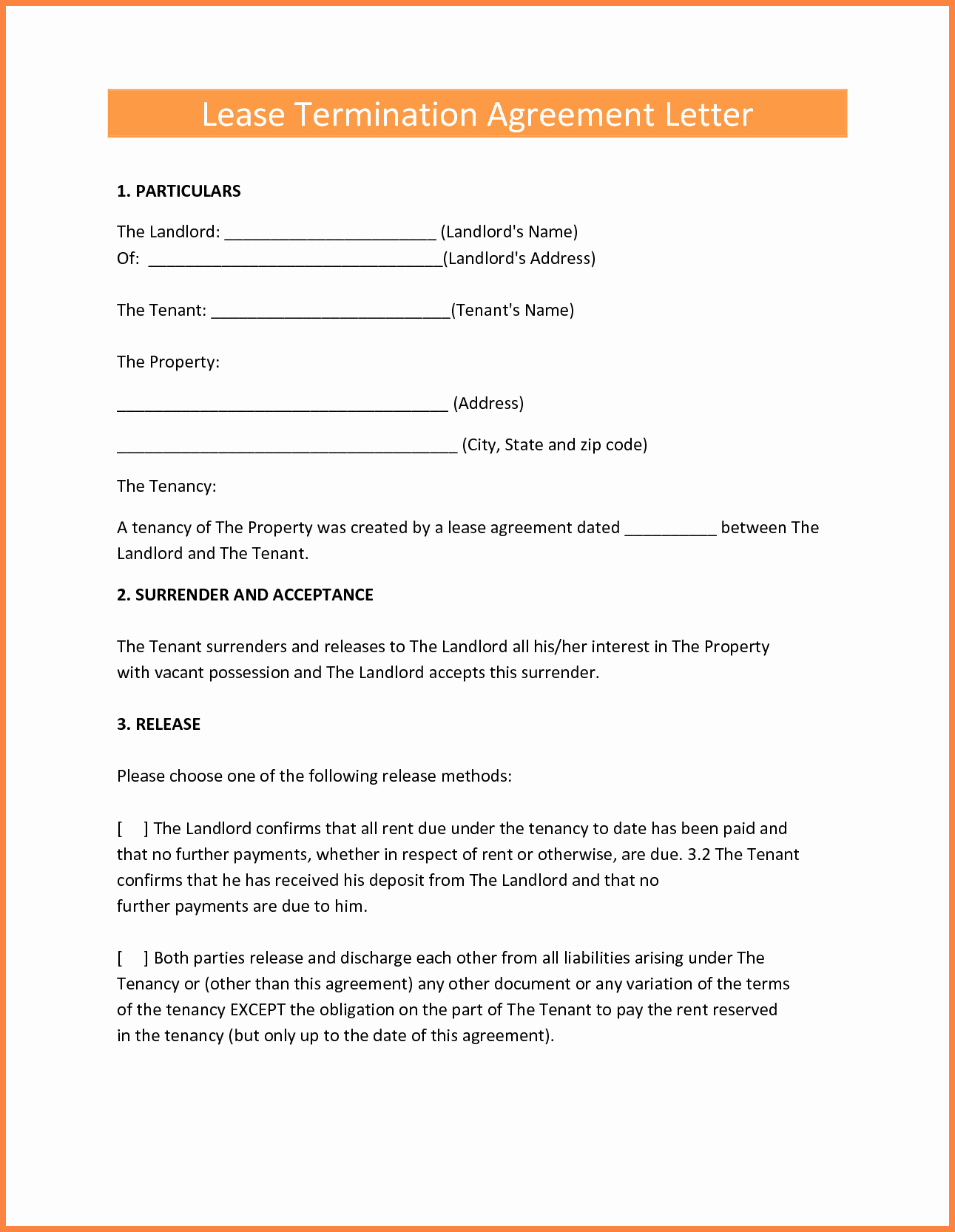 Lease Termination Agreement Template New 7 Early Termination Of Lease Agreement by Landlord