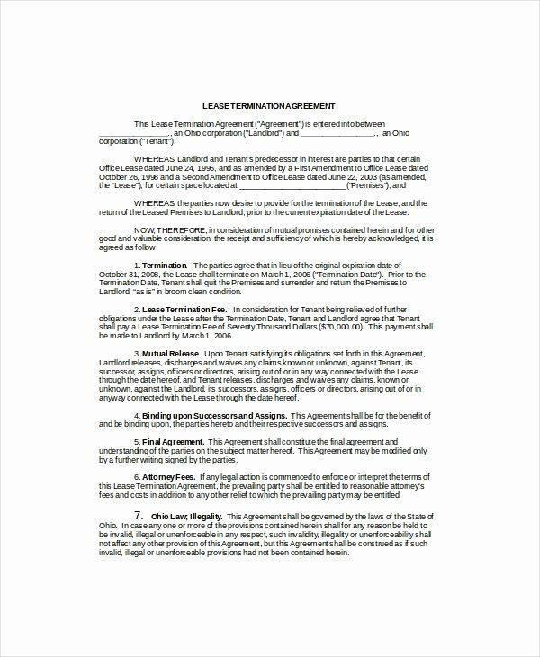 Lease Termination Agreement Template New Lease Termination Template 5 Free Word Pdf Documents