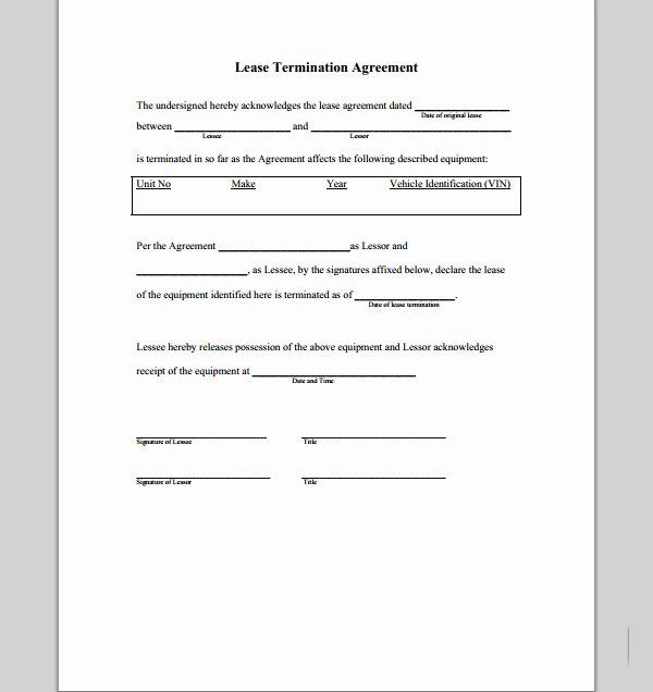 Lease Termination Agreement Template Unique Lease Termination Agreement form Sample forms