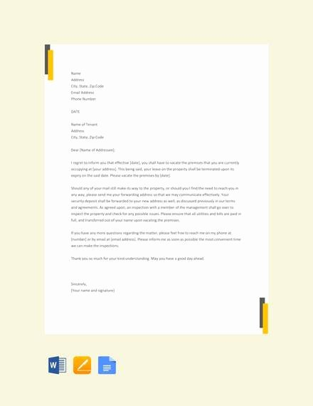 Lease Termination Letter Template Beautiful 7 Sample Landlord Lease Termination Letters Pdf Word