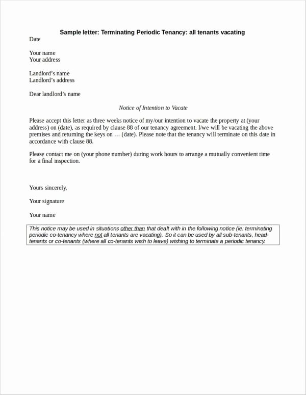 Lease Termination Letter Template Fresh Free 23 Lease Termination Letter Samples & Templates In