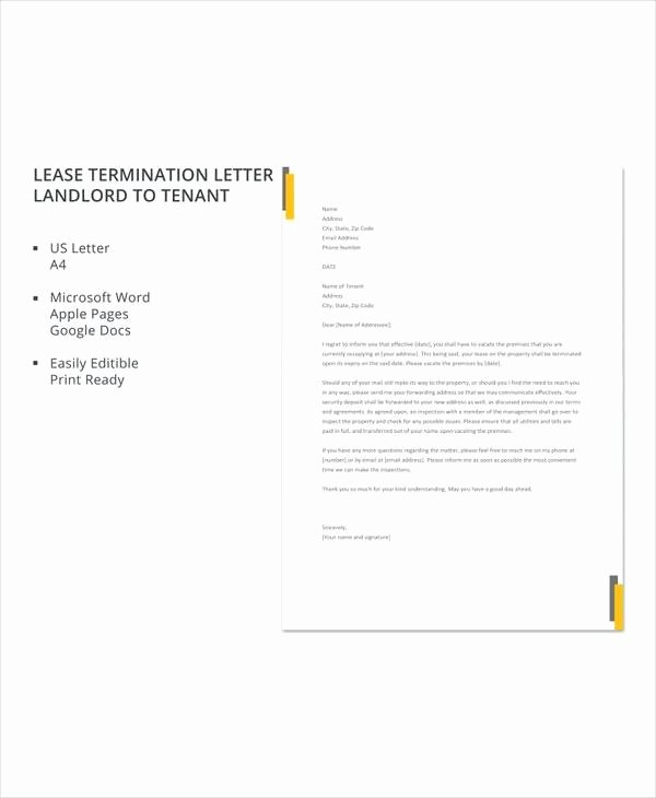 Lease Termination Letter Template Lovely 7 Sample Landlord Lease Termination Letters – Pdf Word