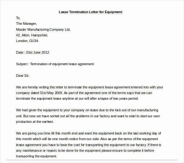 Lease Termination Letter Template Lovely Lease Termination Letter – 6 Free Word Pdf Documents