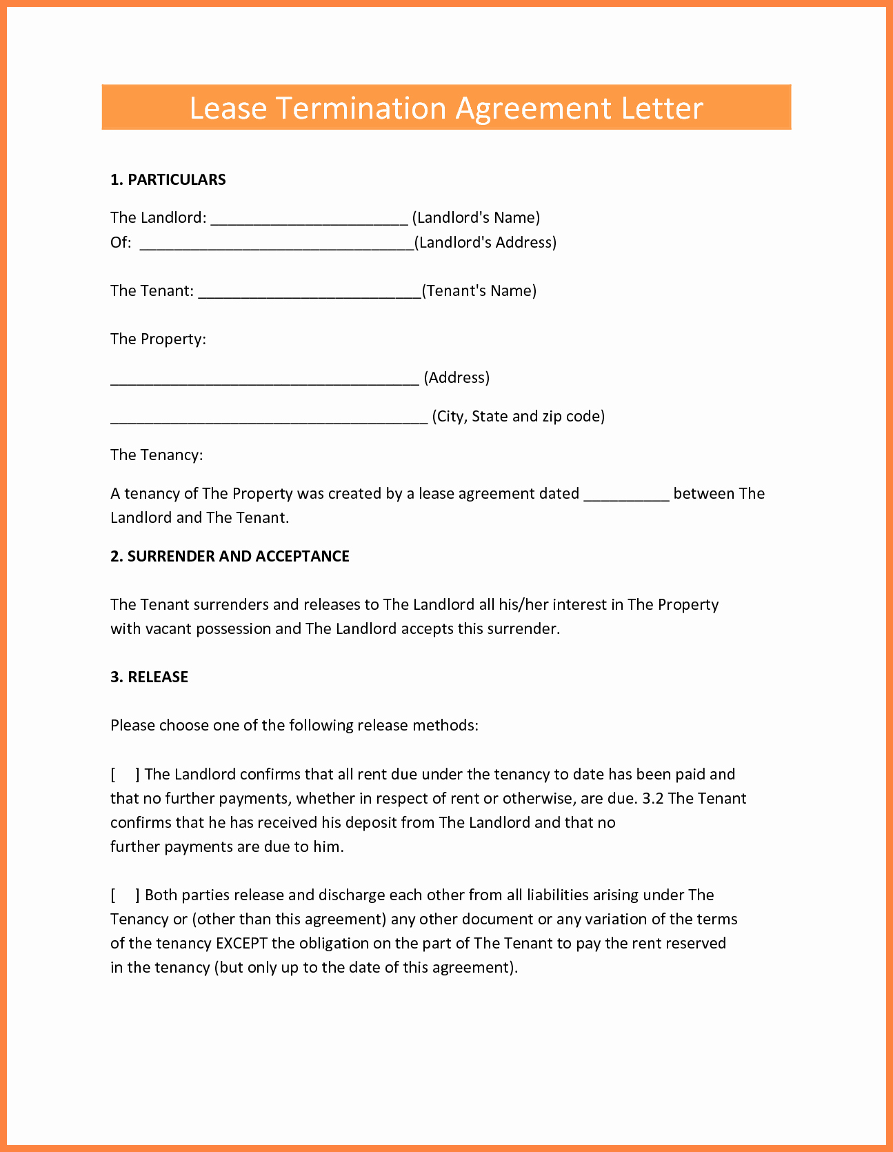 Lease Termination Letter Template Luxury 9 Termination Of Lease Agreement