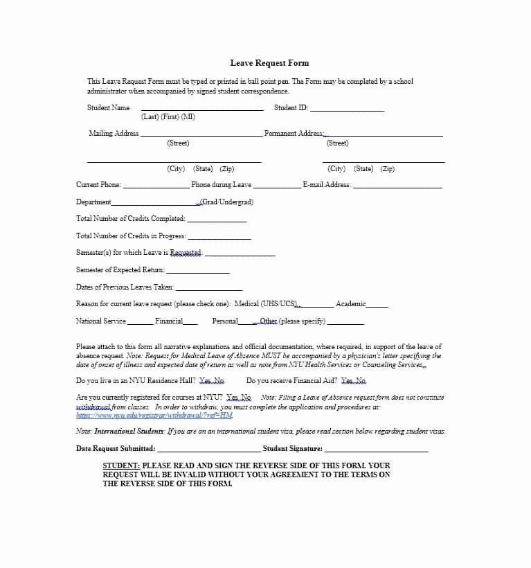 Leave Of Absence form Template Awesome 45 Free Leave Of Absence Letters and forms Template Lab