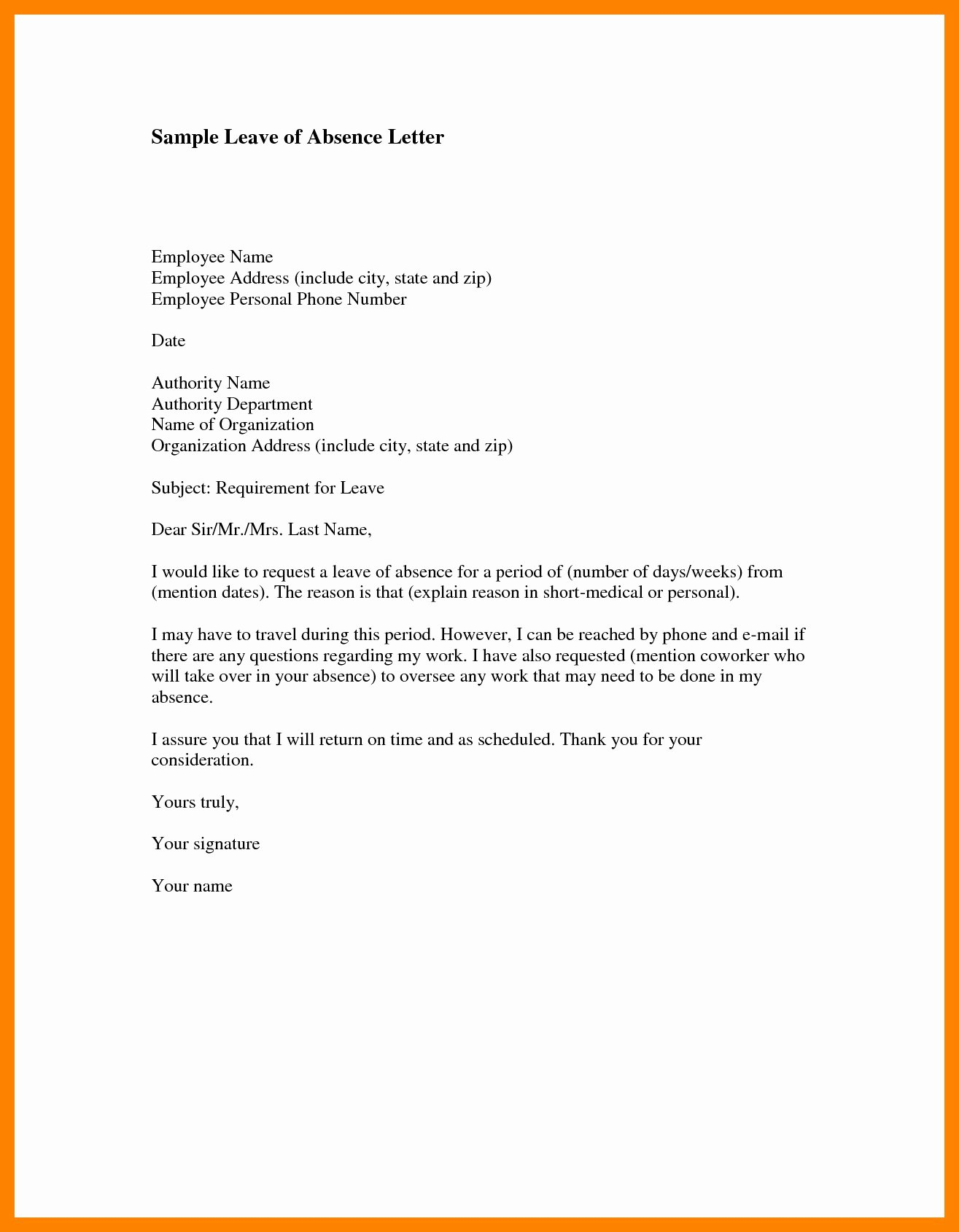Leave Of Absence form Template Beautiful 12 Leave Letter for Employee