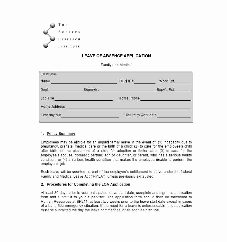 Leave Of Absence form Template Beautiful 45 Free Leave Of Absence Letters and forms Template Lab