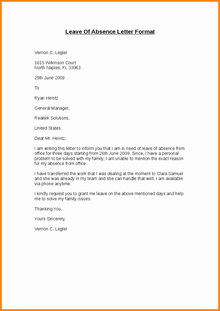 Leave Of Absence form Template Beautiful 9 Example Of Absence Letter for Student