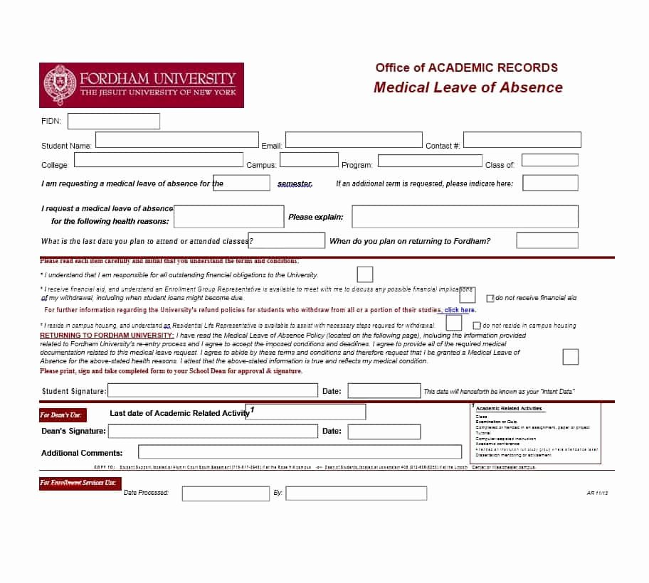 Leave Of Absence form Template Best Of 45 Free Leave Of Absence Letters and forms Template Lab