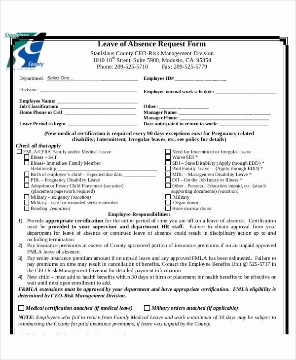 Leave Of Absence form Template Elegant Sample Absence Request form 11 Examples In Word Pdf