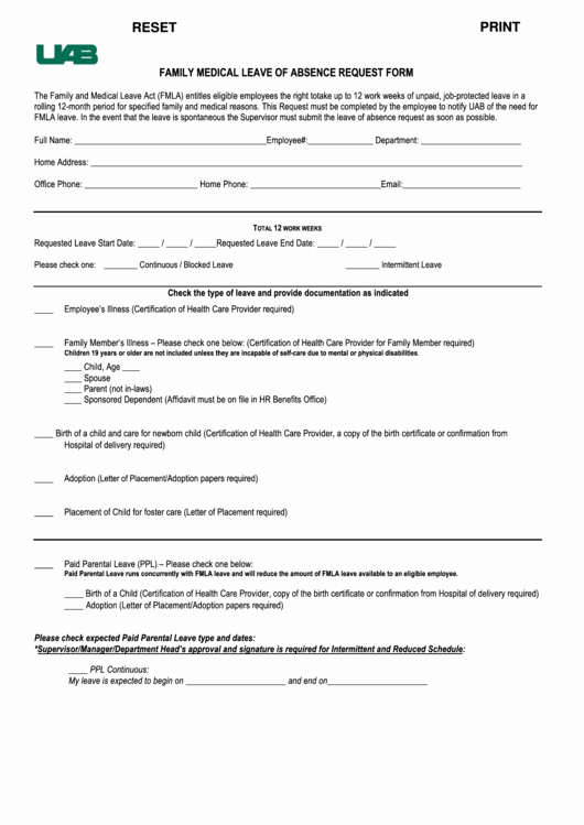 Leave Of Absence form Template Inspirational Fillable Family Medical Leave Absence Request form
