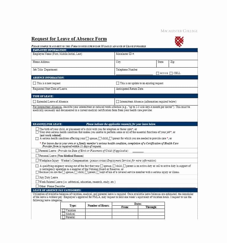 Leave Of Absence form Template Lovely 45 Free Leave Of Absence Letters and forms Template Lab
