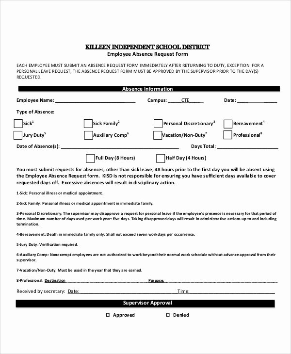 Leave Of Absence form Template Luxury Sample Absence Request form 11 Examples In Word Pdf