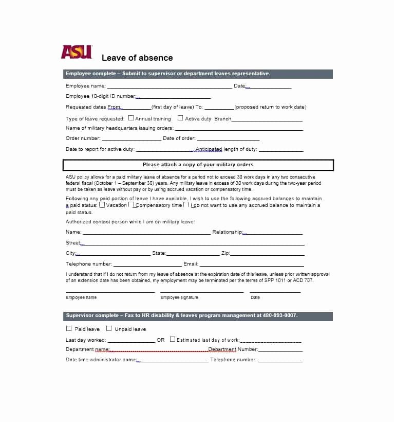 Leave Of Absence form Template New 45 Free Leave Of Absence Letters and forms Template Lab