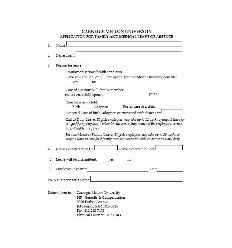 Leave Of Absence form Template Unique 45 Free Leave Of Absence Letters and forms Template Lab