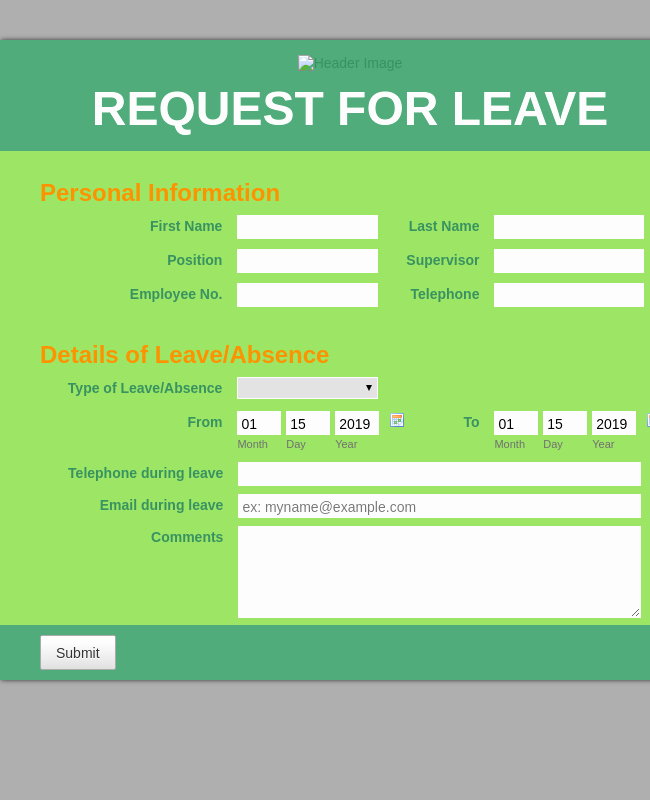 Leave Of Absence form Template Unique Request for Leave Of Absence form Template