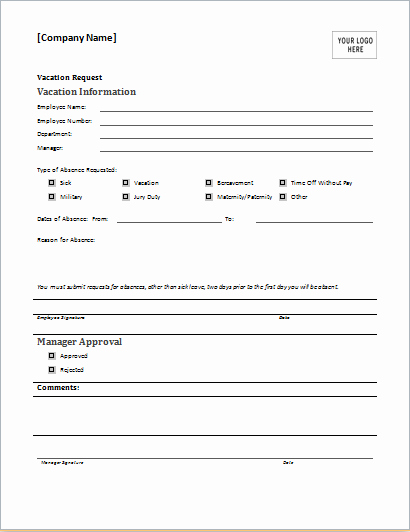 Leave Request form Template Beautiful Employee Vacation Request form for Ms Word
