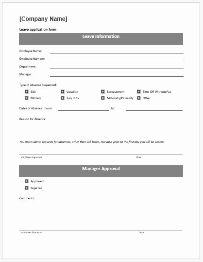 Leave Request form Template Best Of Leave Application form Template Ms Word