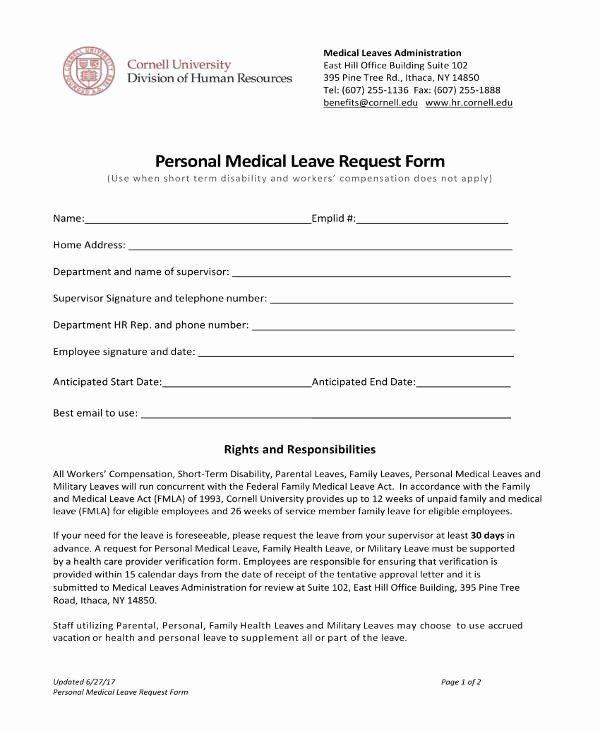 Leave Request form Template Elegant 10 Medical Leave Letter Templates Pdf Doc