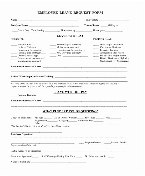 Leave Request form Template Inspirational Free 10 Sample Leave Request forms In Pdf
