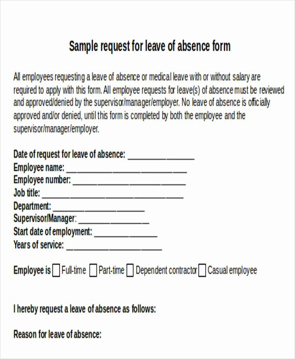 Leave Request form Template Inspirational Leave Request Email Sample
