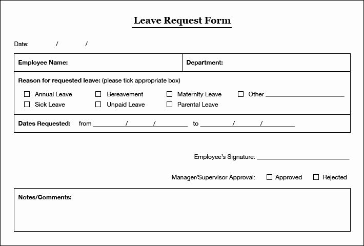 Leave Request form Template Inspirational Simple Leaves Application form Template Excel Template