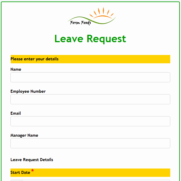 Leave Request form Template Luxury formwize Examples