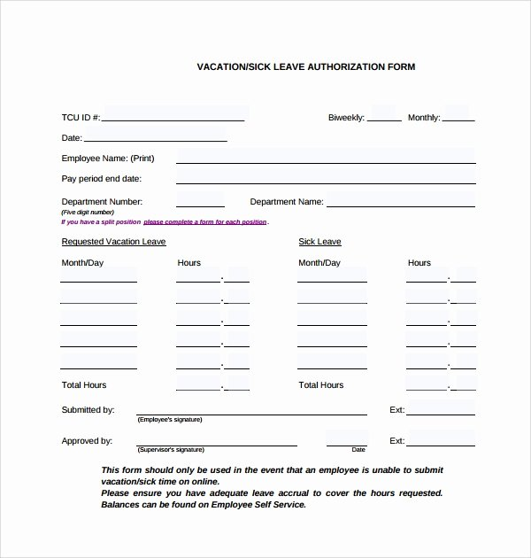 Leave Request form Template Luxury Sample Leave Authorization form 5 Free Documents In Pdf