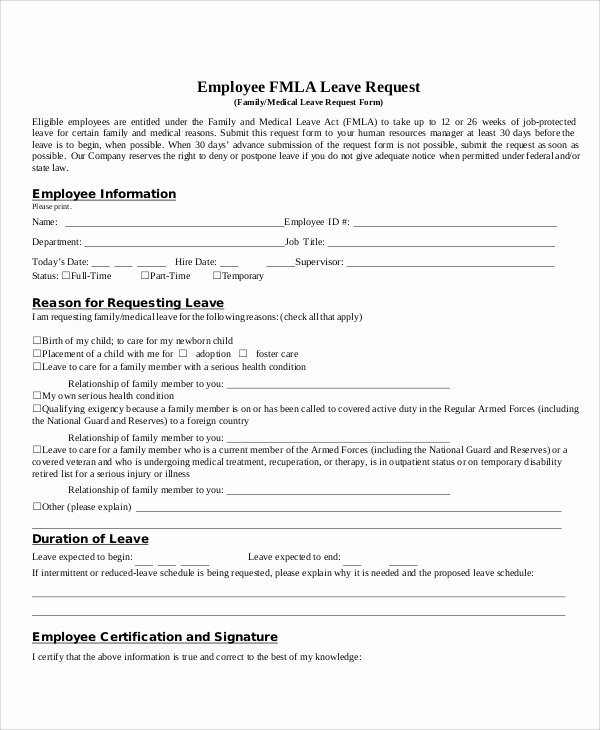 Leave Request forms Templates Awesome 12 Sample Leave Request form Free Sample Example