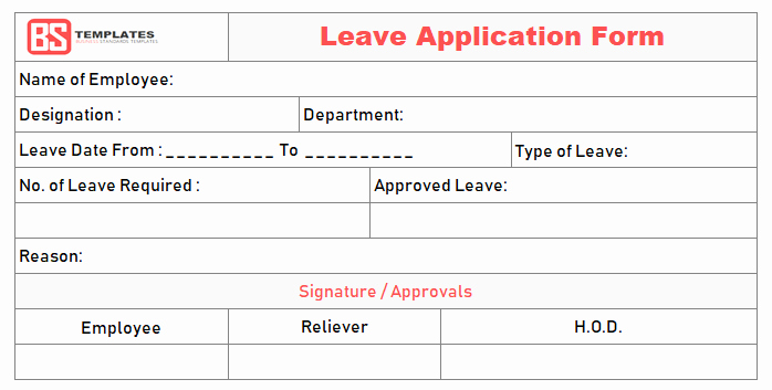 Leave Request forms Templates Beautiful Leave Application form Template for Employee In Excel