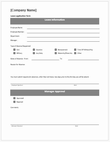 Leave Request forms Templates Inspirational 10 Leave Application form Templates