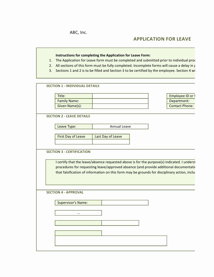 Leave Request forms Templates Inspirational Copy Of Application Leave form Online 1