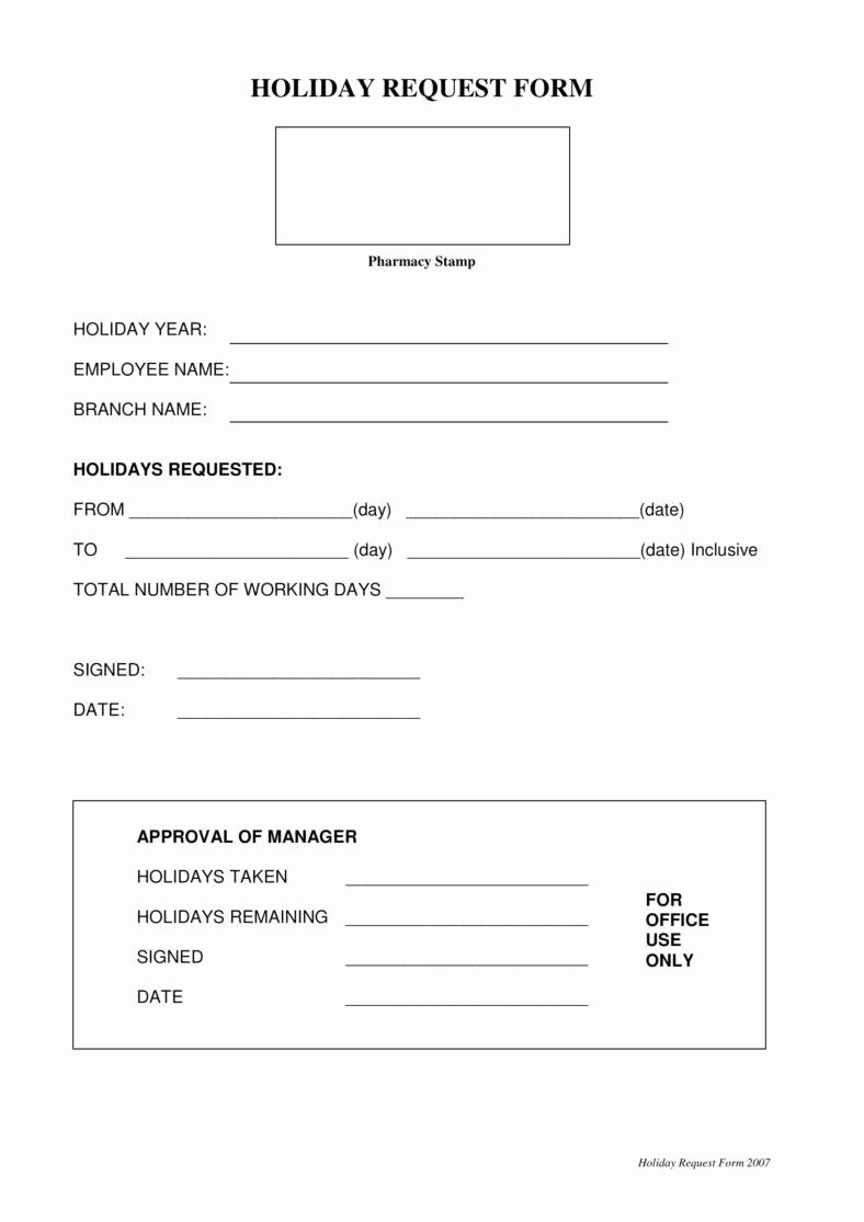Leave Request forms Templates Lovely 9 Holiday Request form Templates Pdf Doc